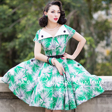 FREE SHIPPING Le Palais Vintage 2016 Summer New Arrival Elegant Tropical Leaves Turn Down Collar High Waist Tutu Dress Women