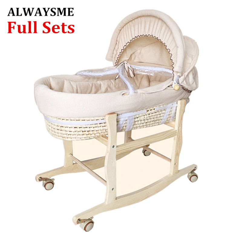 ALWAYSME Full Sets Cradle Include 1PCS Wooden Cradle Bracket And One Corn Bassinet And Fabric Cloth