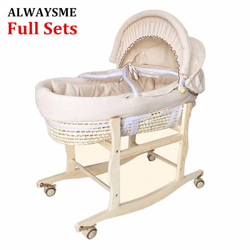 ALWAYSME Full Sets Cradle Include 1PCS Wooden Cradle Bracket And One Corn Bassinet And Fabric Cloth Material Quilt And Mattress