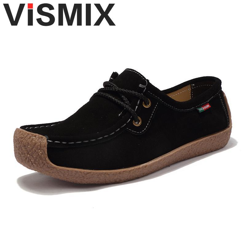 VISMIX Flats Women Shoes Moccasin Platform Shoes Cow Suede Casual Loafers Women Casual Shoes Winter Shoes Big Size 36-42 manitobah мокаксины sunshine moccasin женские бежевый