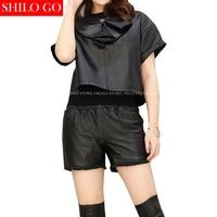 SHILO GO Fashion Street Women Sexy Neck Zipper Metal Rivet Long Sleeve Slim Sheepskin Genuine Leather