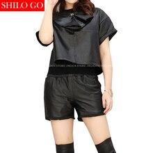 SHILO GO HOT Fashion Women Sexy Neck Zipper Metal Rivet Short Sleeve Slim Sheepskin Genuine Leather Short Shirt Ladies Shirt