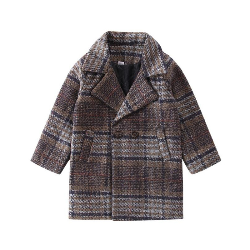 DFXD Autumn Winter Teen Boys Clothes High Quality Long Plaid Wool Coat Fashion Double-breasted England Style Outwear 3-12Years double breasted plus size plaid coat
