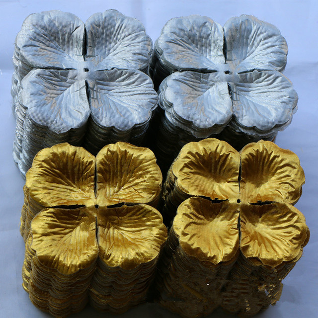 Gold Rose Petals Artificial Silver Flowers Wholesale Fabric Blossom ...