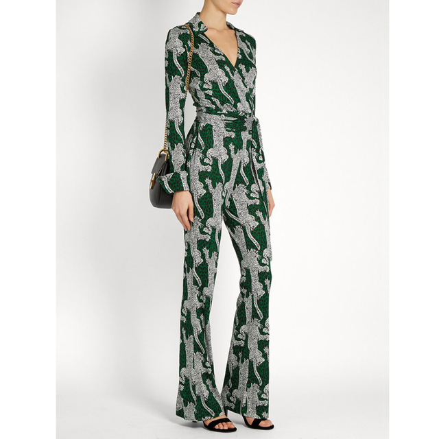 00a5053ba30 new 2019 womens clothing one piece outfits green leopard print jumpsuit  wrap v neck tie belt long sleeve jumpsuit overalls