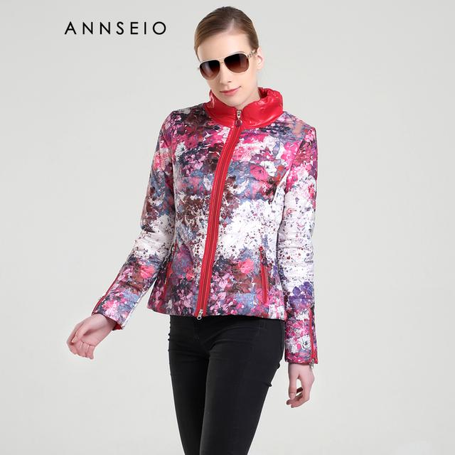 Annseio 2016 nuevo estilo impreso de algodón acolchado chaqueta de moda chaqueta corta chaqueta nueva caliente 15a8705-1