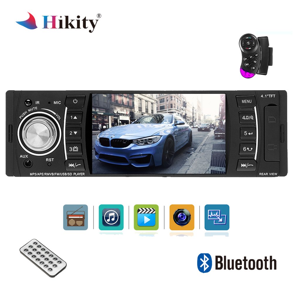 Hikity Autoradio 4.1 Inch 1 Din HD Bluetooth Car Stereo Radio MP3 MP5 Audio Player Support USB FM TF AUX Reverse Rearview Camera цена
