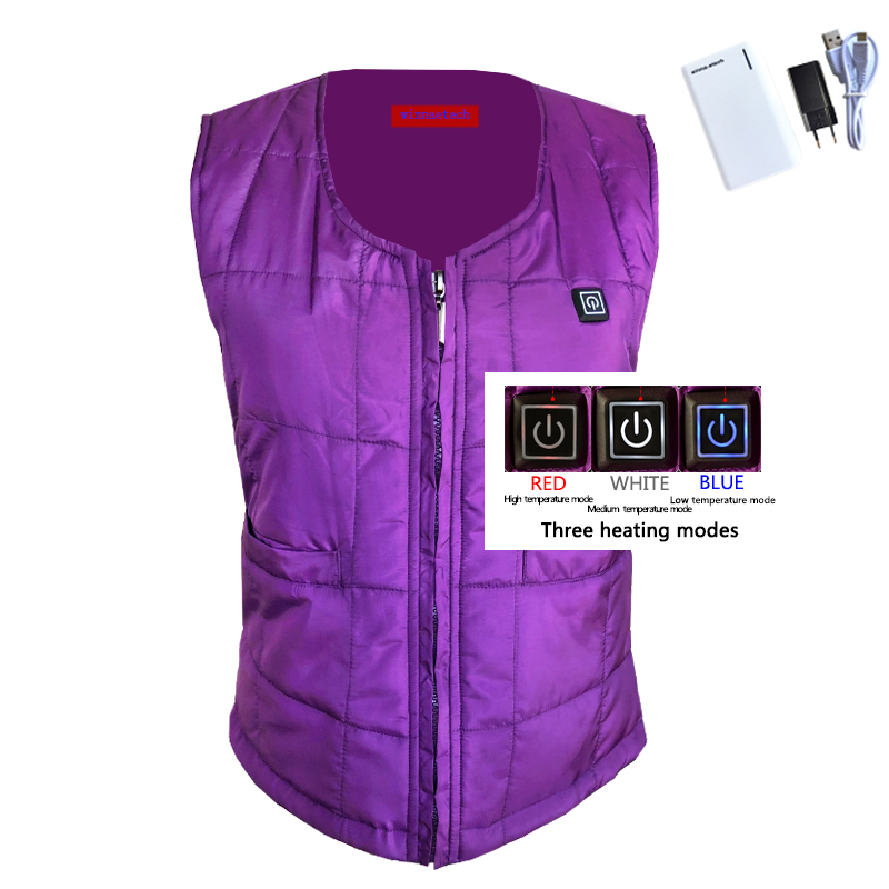 NEW USB heated vest with power supply winter women warm thick vest 3 level woman vest for Outdoor mountain camping size s-xxxl new heated down vest usb charging vest skiing hiking camping winter men vest down keep body warm blue black size s xxl