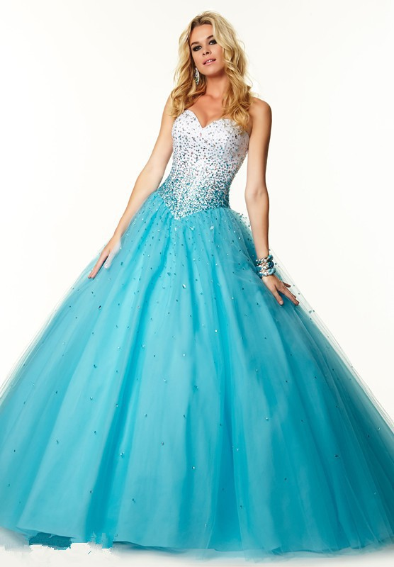 Popular Blue White Quinceanera Dresses-Buy Cheap Blue White ...