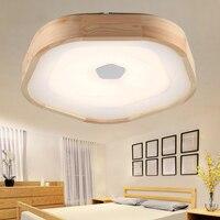 Дерево светодиодный потолочный светильник деревянный гостиная теплые исследование акриловые лампы в японском стиле журнала спальня Потол