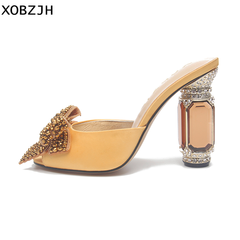 Designer Rhinestone Sandals Women High Heels 2019 Brand Summer Shoes Glass heel Luxury party Sandals Shoes Woman Plus size us 11