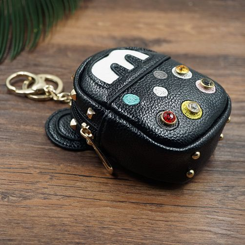 Cute Funny Anime Cartoon PU Leather Mini Coin Purse Keychain Small Wallet Car Key Chain Women Bag Pendant Charm Accessaries