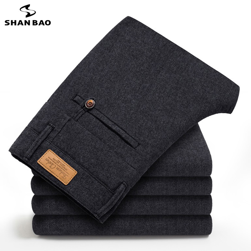 2019 Autumn Winter High Quality Pure Cotton Solid Color Casual Pants Pocket Leather Medal Badge Men's Business Fashion Slim Trou