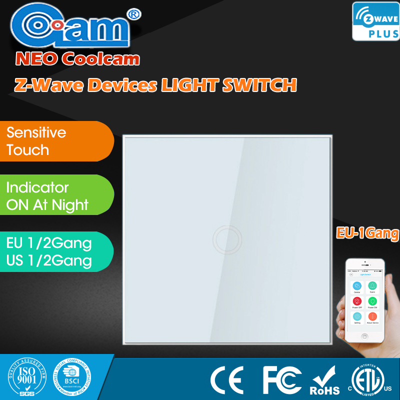 NEO COOLCAM Z-Wave Smart Home Sensor Touch Light Panel 1 Gang EU Standard Wall Switch Wireless Remote Control Light Switches 1pcs smart home sensor touch sensor small switch socket 86 intelligent touch open a single control switch panel