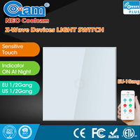 NEO COOLCAM Z Wave Smart Home Sensor Touch Light Panel 1 Gang EU Standard Wall Switch