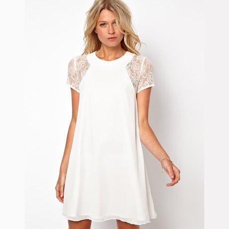 Женщины Sexy Кружева Лоскутная Dress Элегантный Лето Dress Свободные Vestidos Femininos Твердые Белые Платья С Коротким Рукавом Выдалбливают