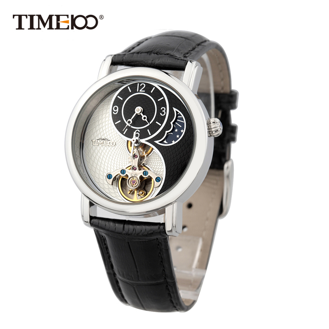 Time100 Unisex Skeleton Mechanical Watches For Men Women waterproof Taichi Pattern Sun Moon Phase Black Leather Strap