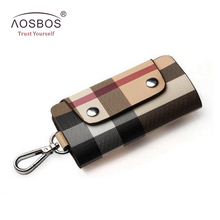 Hot Sale Men Vintage PU Car Key Case Wallet Female Waterproof Leather Key Card Holder Striped Hasp Key Bag Pouch Free shipping