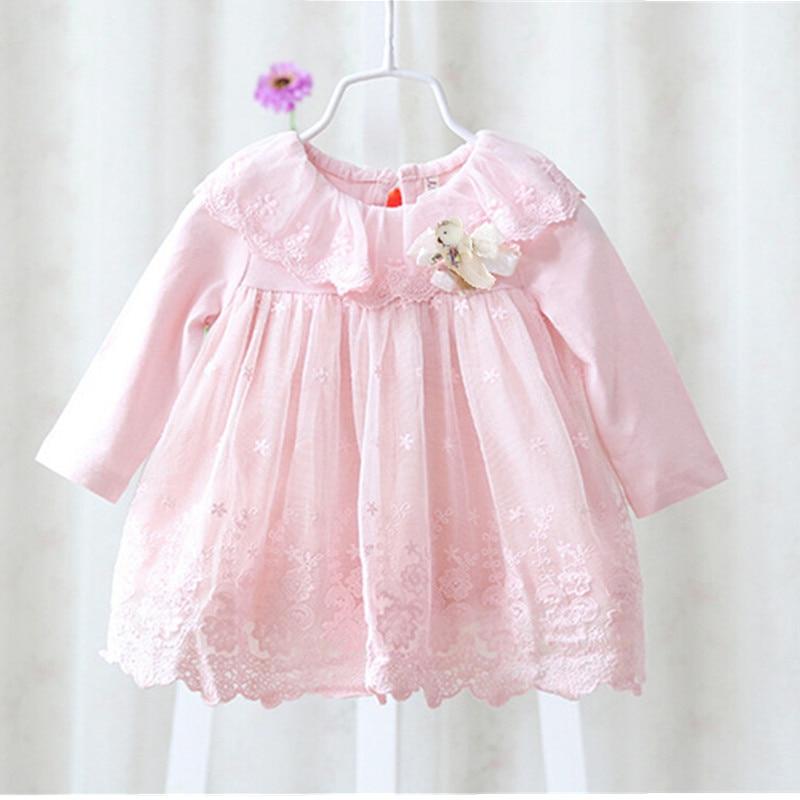 2018 новий плаття дівчини Європейський стиль дитяче плаття дитини дівчаток одяг бавовна дівчинку хрестини сукні рожевий