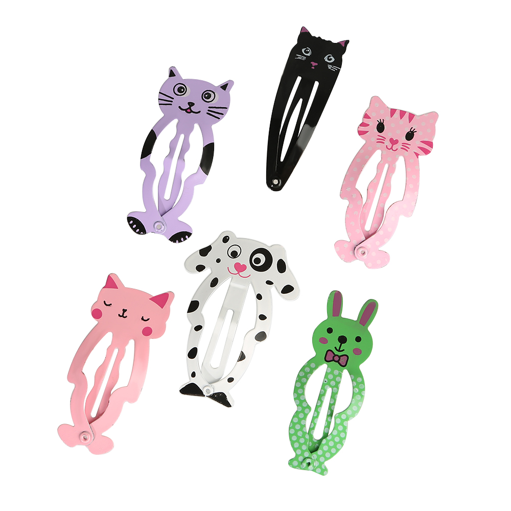 6pcs/set Fashion Women Animal Hairpins kid's headwear Girls barrettes Hair clips Snap Clips Children Hair Accessories children fashion bobby pins hairpin headwear set 6pcs set girls cartoon hello kitty fox owl cat animal bb clips hair accessories