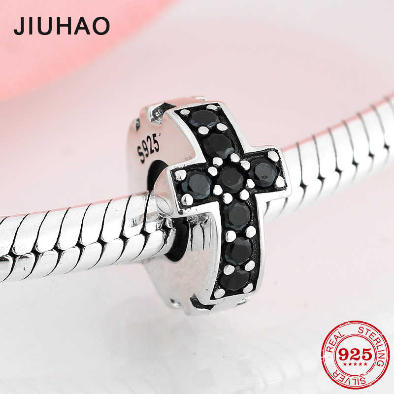 New 925 Sterling Silver Cross Black CZ Fine spacer stopper beads Fit Original Pandora Charm Bracelet Jewelry making