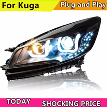 doxa Car Styling For Ford kuga Escape headlights 2013-2016 For Ford Escape LED Headlight bi xenon lens Lowbeam Headlamp Double U цена в Москве и Питере