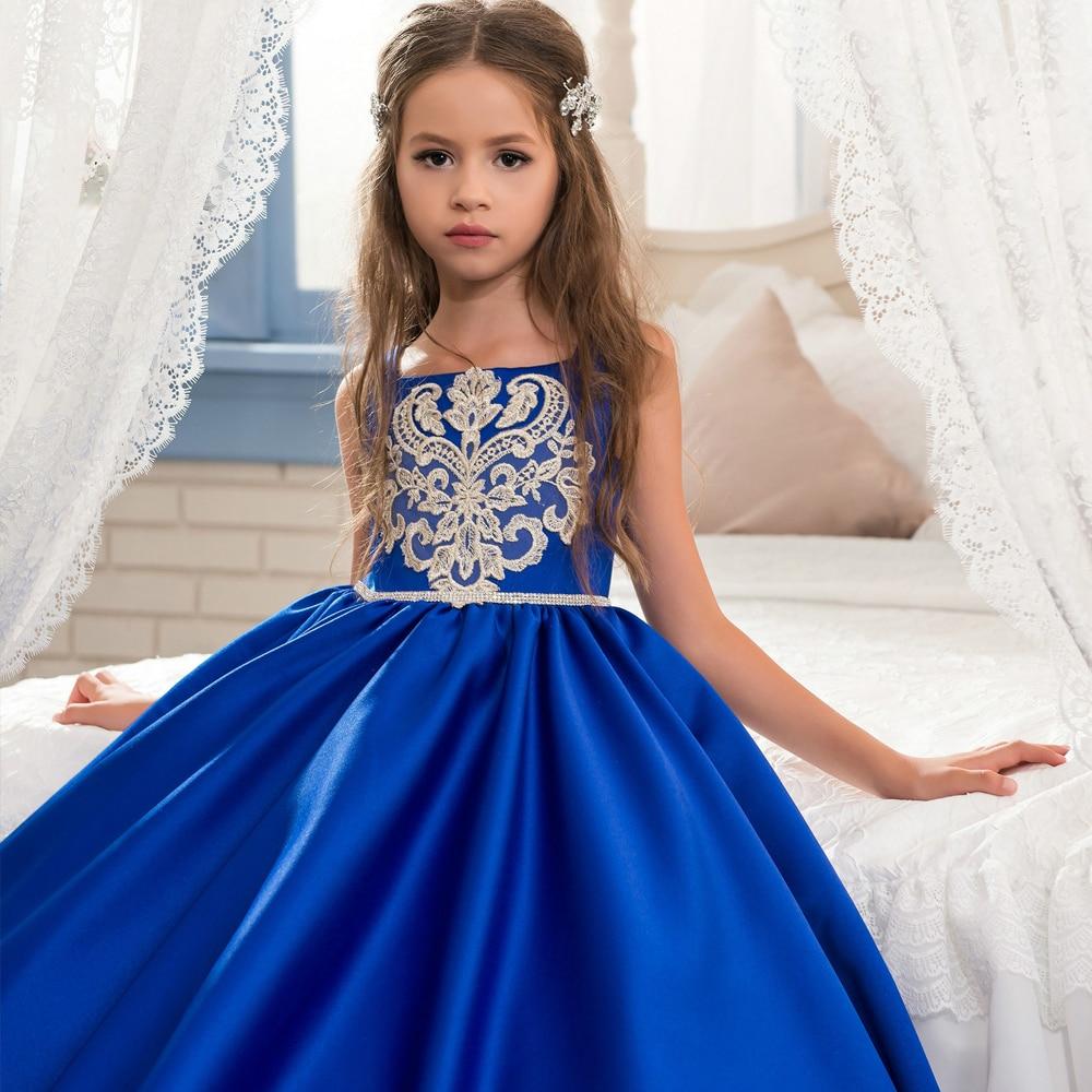Aliexpress.com : Buy 2017 Royal Blue Flower Girl Dresses O Ncek ...
