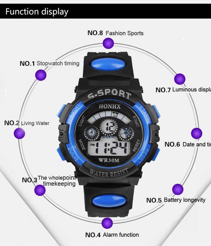 Tahan Air Anak-anak Laki-laki Yang Memimpin Kuarsa Digital Alarm Jam Tangan Olahraga Terkini Elektronik Jam Tangan Fashion GIF Jam Tangan Pria Olahraga Luar Ruangan