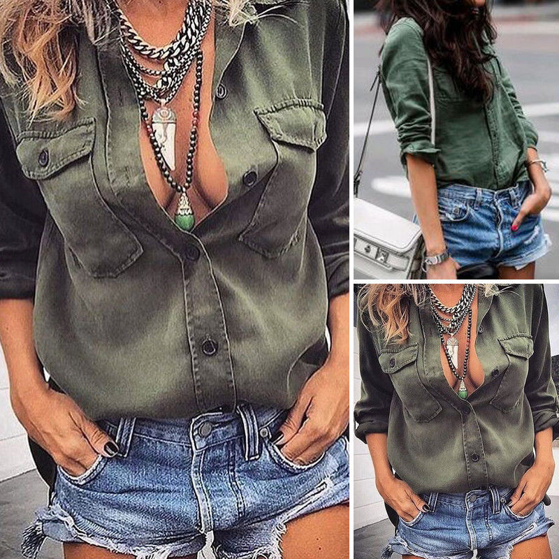 New Autumn Fashion Women Shirts Lantern Loose Solidlt Chiffon Full Sleeve Set Head Blouse Shirt Army Green White 3055 Fashionable Patterns Women's Clothing
