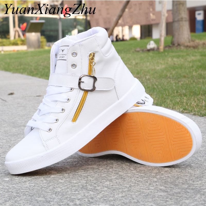 Hot Men High White Shoes Mens Hip-Hop Casual Shoes 2018 New Korean Fashion Zipper Decoration Comfortable Lace Men High Top Shoes hot sale fashion comfortable men casual shoes soft genuine leather high top zipper thick sole heighten man shoes size 38 44