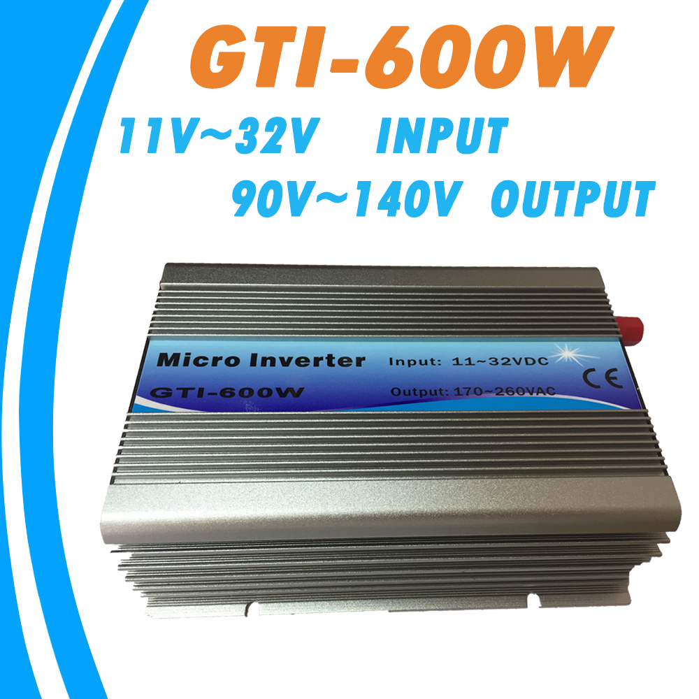 Grid Tie 600W Micro Inverter MPPT Pure Sine Wave 11-32V DC Input 90-140VAC Output LED Display for Max 38A Input GTI-600W NEW micro inverter 600w on grid tie windmill turbine 3 phase ac input 10 8 30v to ac output pure sine wave