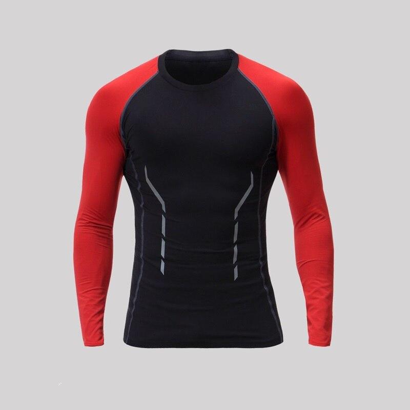 Hot Cheap Mens Long Running T-Shirt Tights Dri-Fit Shirts Soccer Base Layer Breathable Sports Tshirt For Men Elastic Reflective