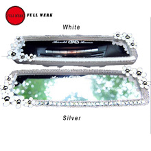 1PC Flower Decorative Car Auto Interior Rearview Mirror in White Silver for Ladies Vehicel Accessories
