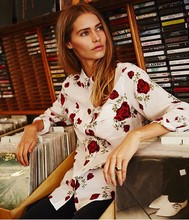 EQ 100% silk flower rose print long sleeve women blouse equipment ladies loose shirt autumn spring
