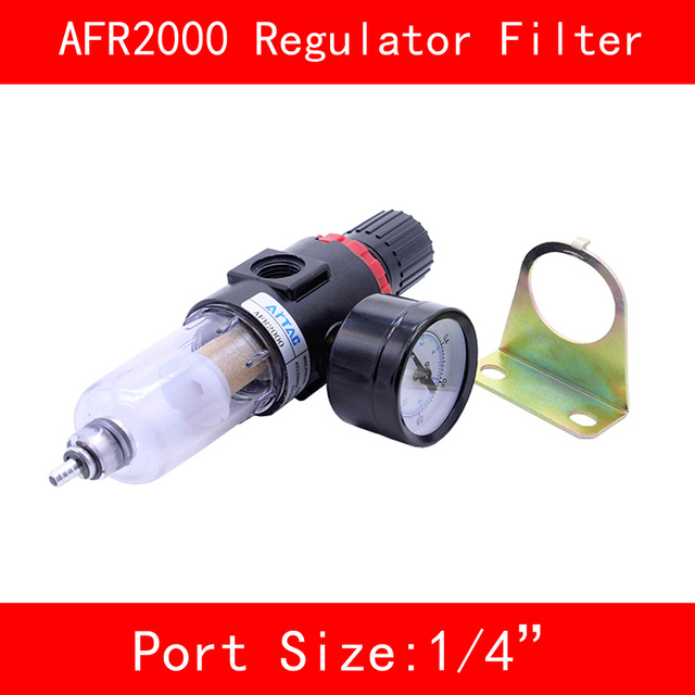 """AFR2000 Air Filter Port 1/4"""" Pneumatic Parts Air Filter Accessory Source Treatment Unit Oil Water Separation with Pressure Gauge"""