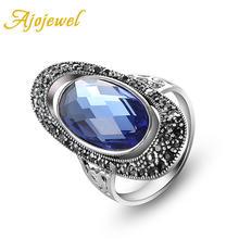 Женское кольцо с овальным кристаллом ajojeel Винтажное зеленого