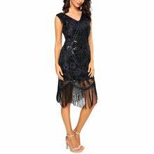3d9fa5e04d15 Sexy Women Sequin Dress Tassel Fringe V-Neck 1920s Flapper Bodycon Party  Dress Retro Mid-Calf Dress Black/Gold Vintage Vestidos