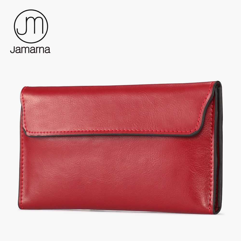 Jamarna Women Wallets Genuine Leather Red Ladies Long Bifold Purse Detachable Card Holder Female Clutch Phone Pocket Wallet New jamarna brand wallet female genuine leather long clutch women purse with phone holder women wallets fashion crocodile leather