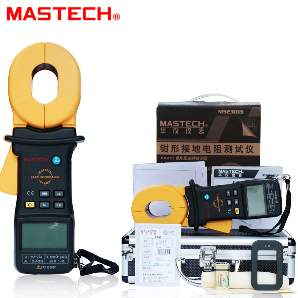 MASTECH MS2301S/MS2301 Clamp Meter Earth Ground Resistance Tester/Resistance Detector/Megger/Meg Ohm Meter 0.001ohm resolution hot protable 0 01ohm high accuracy digital advanced earth ground resistance clamp meter tester megger megohmmeter mastech ms2301
