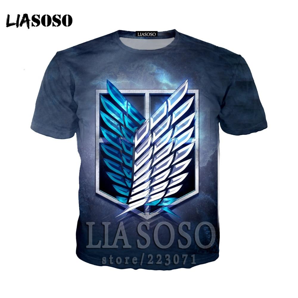 LIASOSO Japanese Anime Attack on Titan t shirt in men's T-shirt Short Sleeve Hip Hop Strretwear 3D O-neck summer tshirt at11