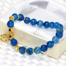 Голубой попкорн Сердолик 8 мм оникс Агатовая нитка круглых бусин