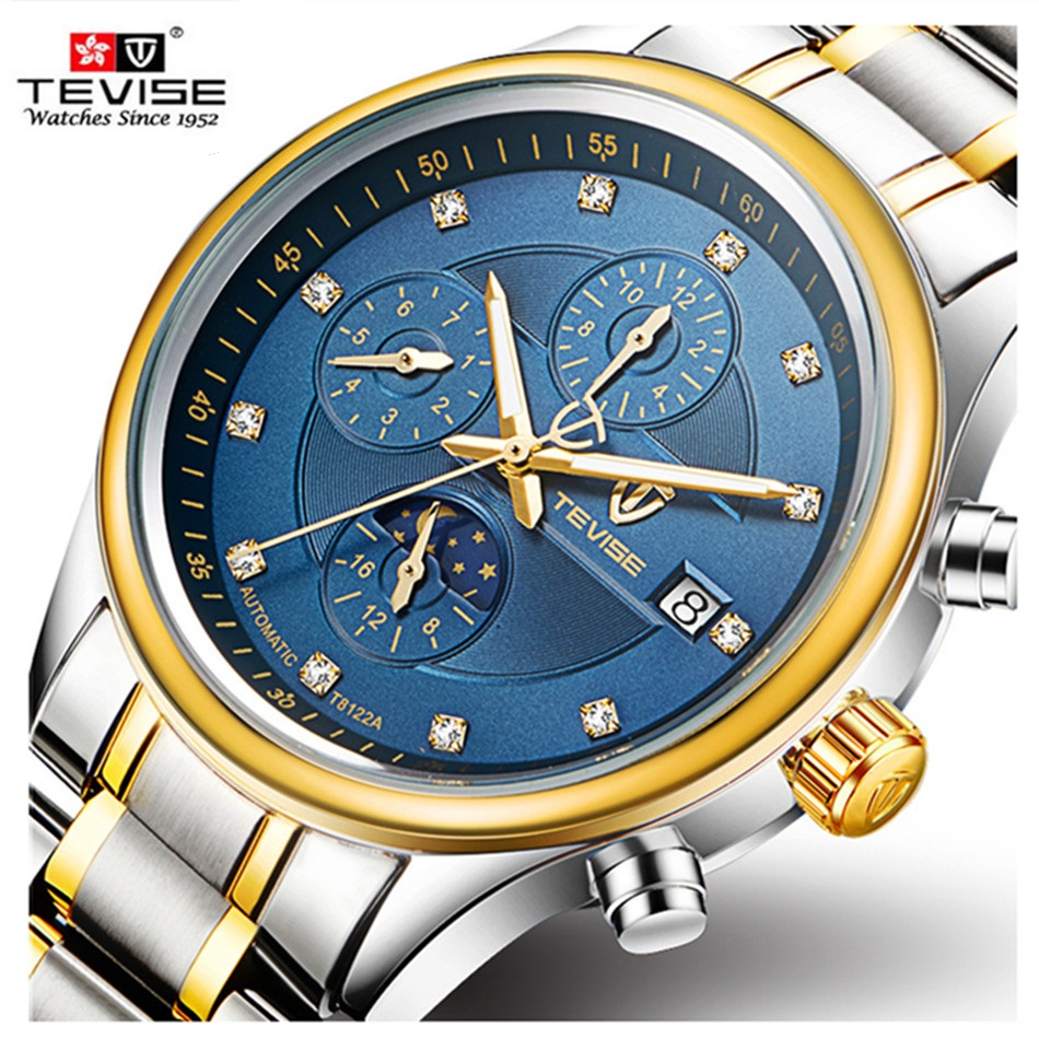 TEVISE Brand Men's Watches Six-pin Moon phases Automatic Watch Men Fashion Casual Stainless Steel Wristwatches relogio masculino tevise fashion auto date automatic self wind watches stainless steel luxury gold black watch men mechanical t629a with tool