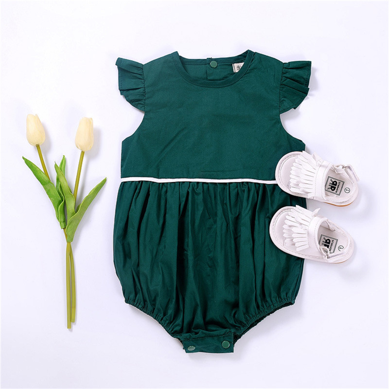 Toddler Infant Baby Boy Girls Romper  Sleeve Green Jumpsuit Baby Girl Romper Solid Casual Outfits Sunsuit Clothes baby girl 1st birthday outfits short sleeve infant clothing sets lace romper dress headband shoe toddler tutu set baby s clothes