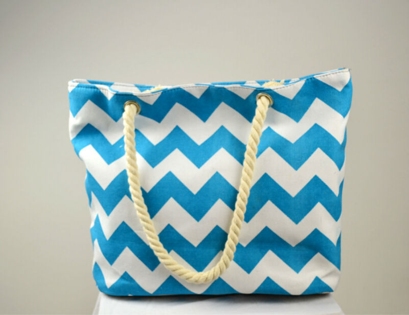 Drop Ship 1 piece/Lot Large Chevron canvas Tote Bag Printed Summer ...