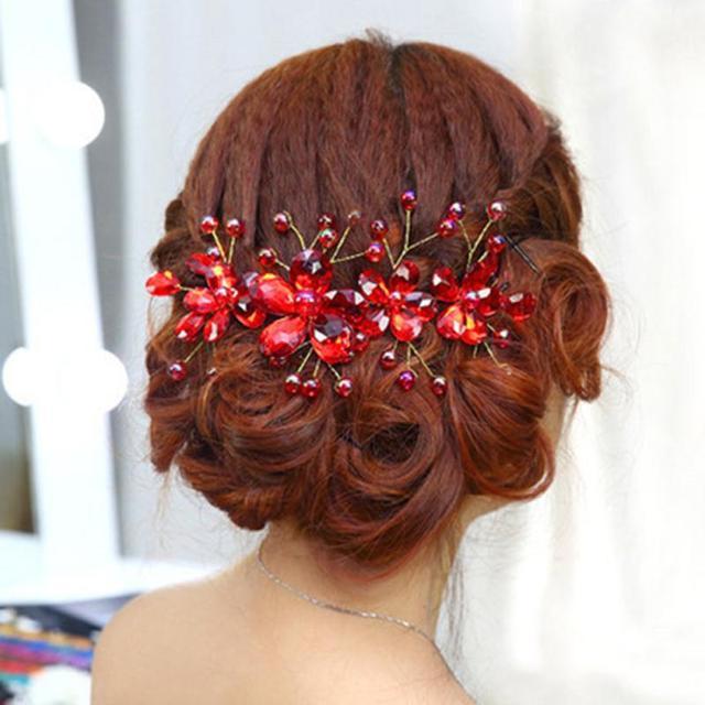 wedding hair accessories red flowers hair clips bride rhinestone tiara bridal crown floral hairdress hair bands