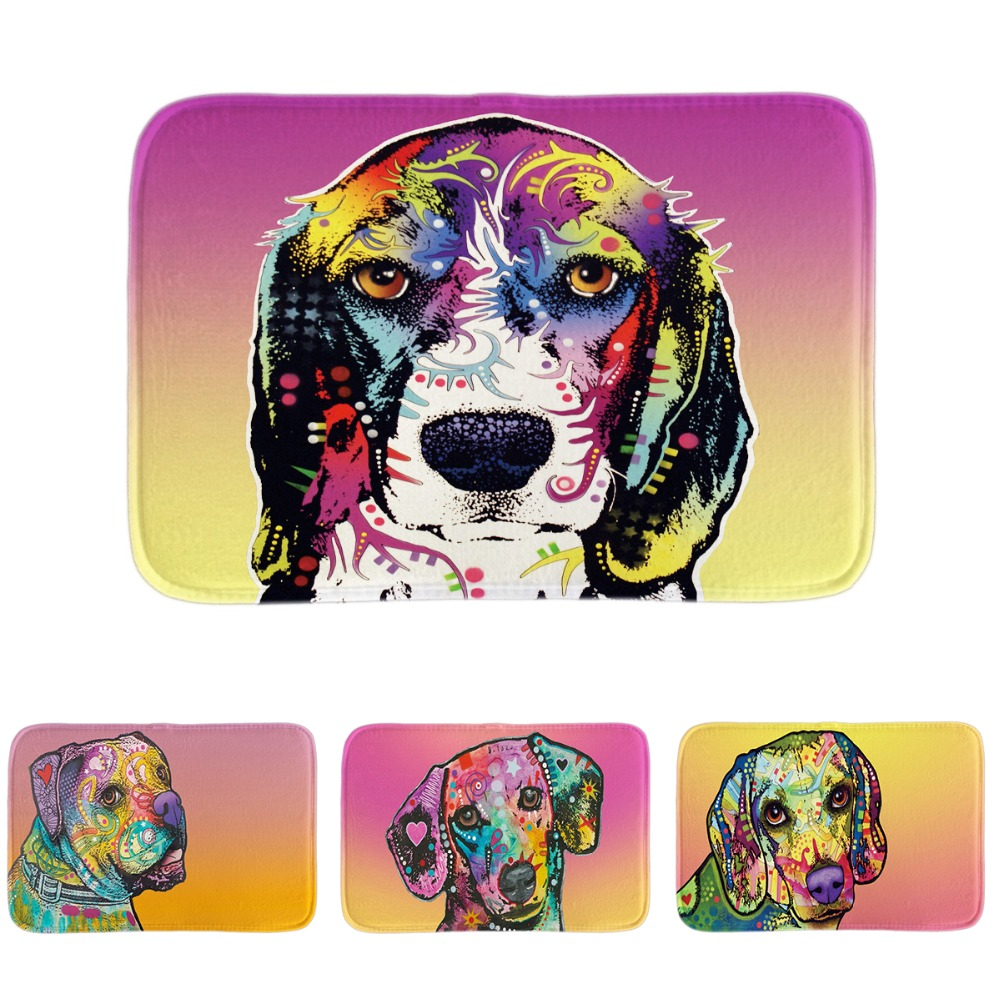 Rubber floor mats for dogs - Entrance Floor Mats Funny Pet Dog Border Collie Series Door Mats Multicolor Home Funny Decor Bathroom