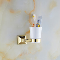 2015 New Modern golden LOVEsingle cup holder luxury European Golden copper toothbrush tumbler&cup holder wall mount bath product