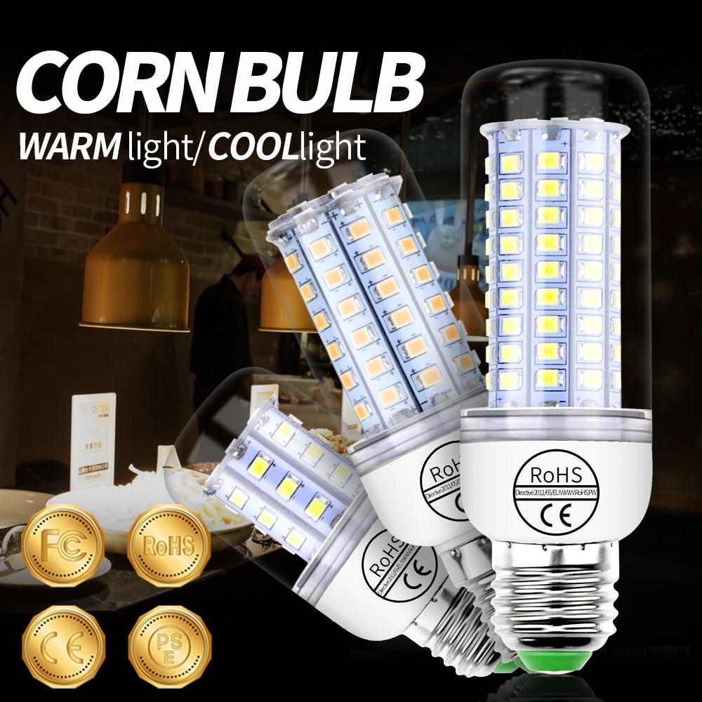 E14 LED Bulb 220V E27 LED Lamp GU10 Light Corn Lamp Bulb Candle 2835 SMD 5730 Lampada 30 36 48 56 69 89 102leds Chandelier Light