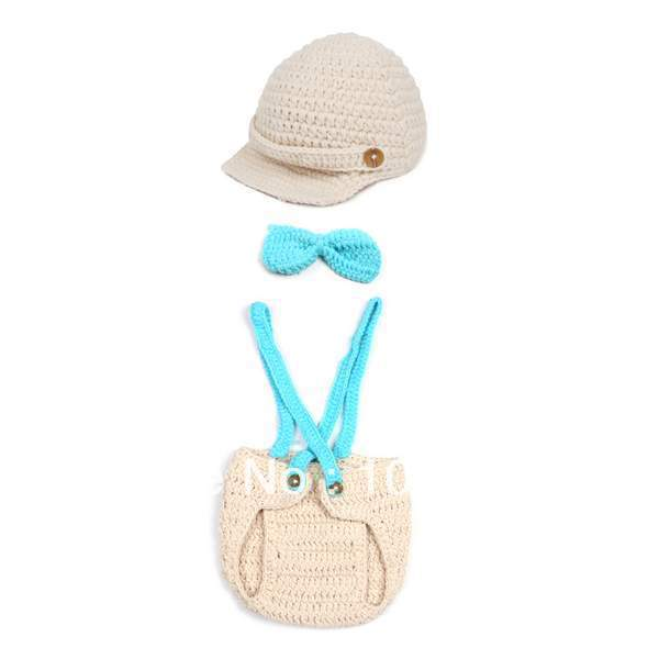 c3cc1336260 1Set Knitted Crochet Peaked Cap Visor Beanie Photography Props Outfit For Baby  Kid Newborns