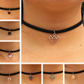 Choker Necklaces Women Black Velvet Suede Leather Chain Short Collares Fashion Jewelry Crown Peace Gothic 90's Bijoux Steampunk